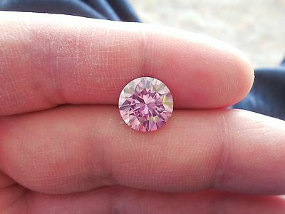 Fiery 4.11 ct Pinkish Purple Color Round Loose Moissanite VVS2 10.95 mm