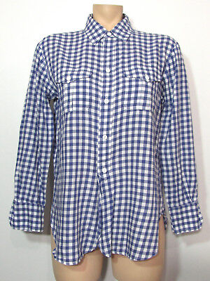 a6510be3 Madewell Women's Shirt XS Blue White Gingham Plaid Button Down Slit Long  Sleeve