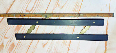 """ANTIQUE DRAUGHTSMAN EBONY AND BRASS PARALLEL RULE 18"""" EARLY 1800s"""