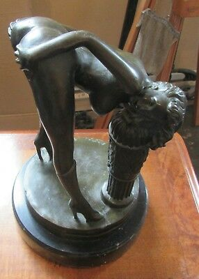 Erotic Bronze Sculpture , Naked Lady wearing Boots , Bent Over 'Exposed'