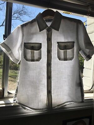 Boys' White 100% Linen Short Sleeve Button Down Shirt size 4T (Old Navy)