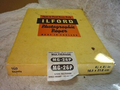 "50 X ILFORD Multigrade MG 269 Photo Paper  velvet stipple 6.5"" 8.5"" 16.5CM 21.6"