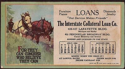 Vintage Advertising INK BLOTTER  The Interstate Collateral Loan Co ., 1924....