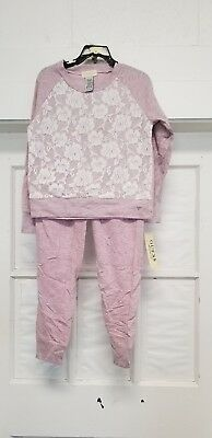 New Guess Girls Active 2 Piece Set Pink w/lace flowers Size 6~~ FreE ShiPPinG ~~