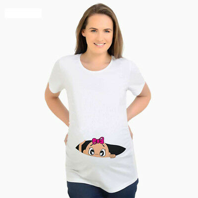 e8307e6deefe2 Pregnancy t-shirts baby peeking out maternity top tee for pregnant women  clothes