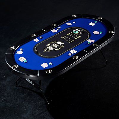 10 Player Poker Table Blackjack Texas Hold Em Pro Folding Casino Card Game Event