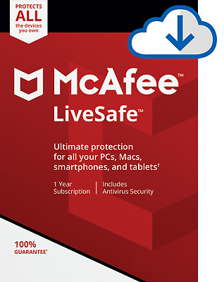 McAfee LiveSafe 2019, 1 User - Unlimited Devices, 1 Year - NEW DOWNLOAD VERSION