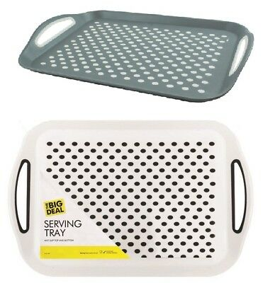 ANTI NON SLIP SERVING TRAY Plastic Food Rubber Grip With Handles Large Bar Pub