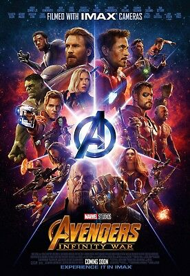 1 Avengers Infinity War (12x18) Movie IMAX Poster Marvel Spider Man, Thanos