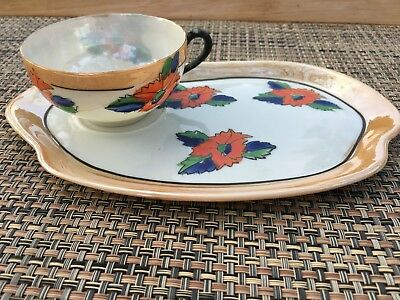 Vintage Gold Castle Tea Cup and Snack Plate Set Hand Painted Japan - 2 Pieces