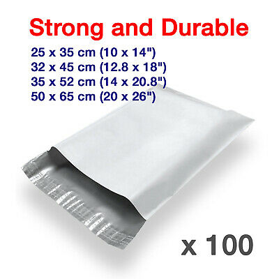 100 x Strong Quality White Plastic Mailing Postal Poly Postage Packing Bags