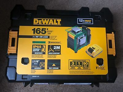 Brand New DEWALT DW0811LG 12V MAX Li-Ion 2 x 360-Degree Green Line Laser Level