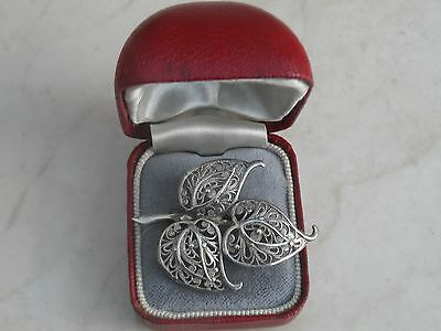 GORGEOUS MARKED STERLING SILVER FILIGREE LEAF BROOCH 3.75gr