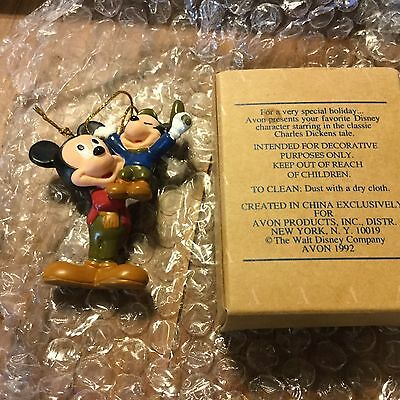 Avon Holiday Figurine 1992 Mickey Mouse As Bob Cratchit New In Box