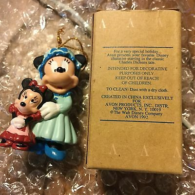 Avon Holiday Figurine 1992 Minnie Mouse As Mrs. Cratchit New In Box