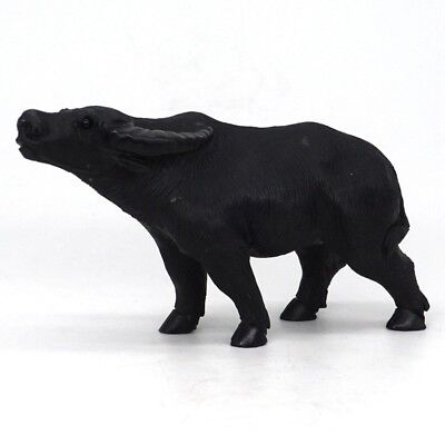 """4.3"""" Natural Black Obsidian Crystal Hand-Carved Cow Statue Crafts Home Decor"""