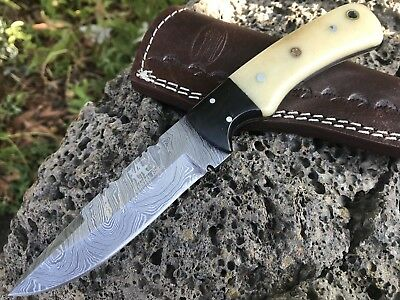 "HUNTEX Handmade Damascus 9""Long Full Tang Camel Bone Hunting Skinning Neck Knife"