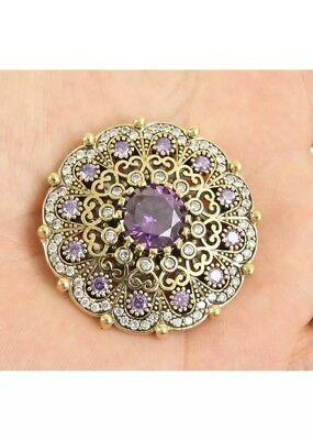 Gorgeous! Antique Vintage Silver Pendent & Brooch with Amethyst & Topaz(27Gr.)