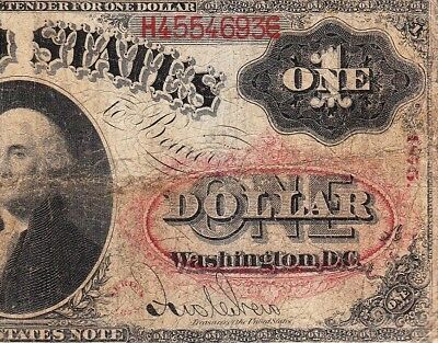 """*RARE* $1 1875 US Legal Tender Note! """"PINK FLORAL SEAL""""! FREE SHIPPING! H4554693"""