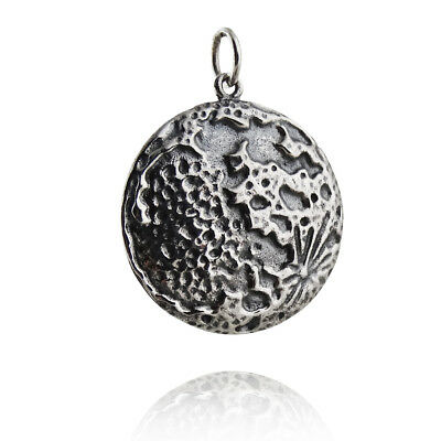 Textured Full Moon Pendant - 925 Sterling Silver - Space Lunar New Charm