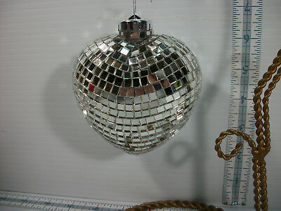 """Large Mirrored Disco Ball Heart Shape Christmas Ornament Party Decoration 4""""X3.5"""