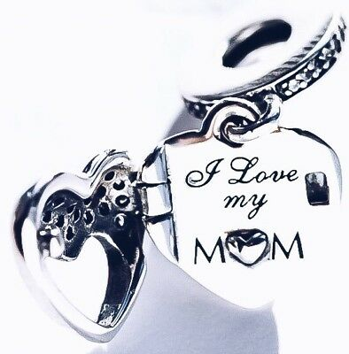 Genuine Pandora I Love My Mum Mother Pendant Heart Charm Mother's Day S925 ALE