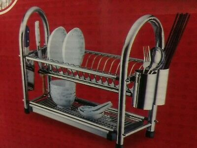 2 Tier Dish Rack Holder Drainer Strong Durable stainless steel heavy duty