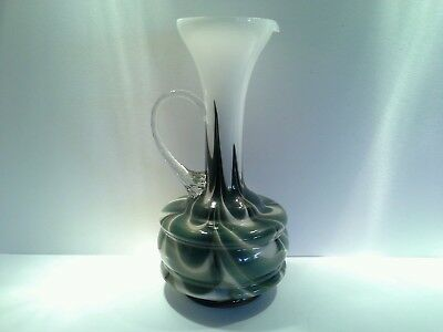 Large Vintage Art Glass Jug, Fractel Design, Clear Twist Handle & White Casing
