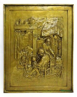 Arts & Crafts Vintage Bas-Relief Heavy Brass Lg Wall Sculpture/fireplace Shield
