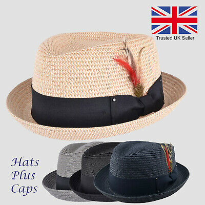 Straw Pork Pie Hat Diamond Crown Summer Trilby Holiday Sun Hat Crushable Beach