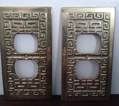 2 Vintage Brass Geometric Duplex Outlet cover/plate.