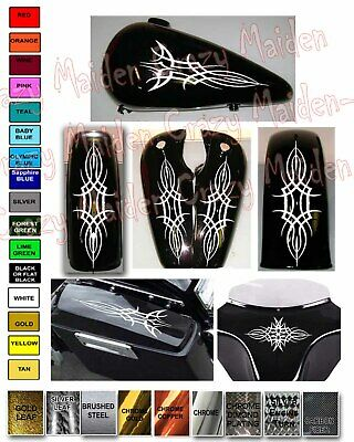 Motorcycle decal sticker pinstripe set gas tank & fender Harley Honda Victory