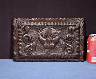 """*12"""" French Antique Panel in Chestnut Wood Salvage with Lion"""