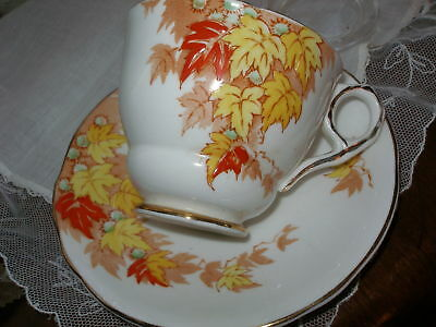 ROYAL STAFFORD vintage CUP AND SAUCER c1930s AUTUMN LEAF