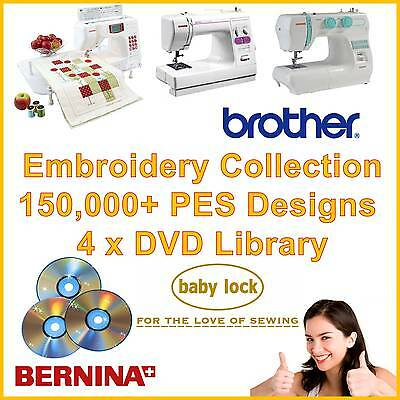150,000 Embroidery Designs Brother Bernina Babylock PES Library on 4x DVD