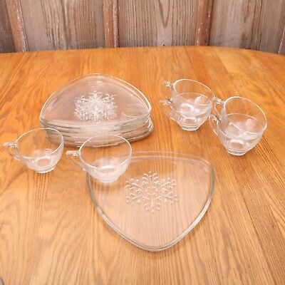 6 Indiana Glass Snowflake Clear Snack Sets Atomic Triangle Mid Century Vintage