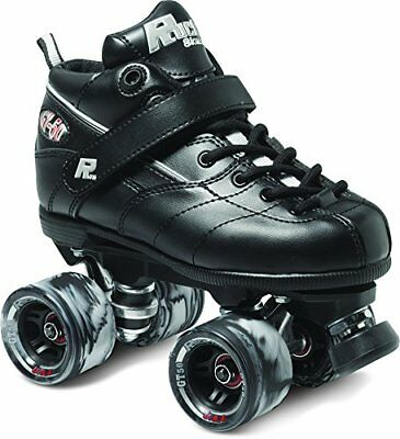 Black GT-50 Quad Roller Speed Skates w/ Black Swirl Wheels