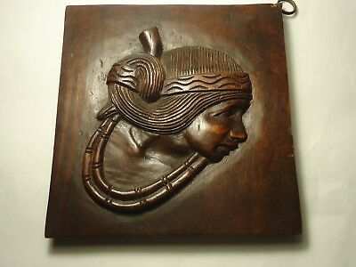 vintage hand carved wood panel face head of man child  hanging wall