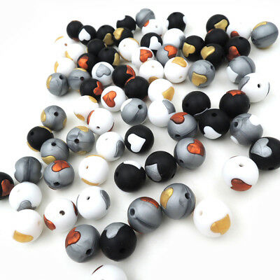 50Pcs Round Silicone Beads DIY Chewable Teething Baby Necklace Teether Making