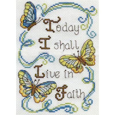 """Tobin Live In Faith Mini Counted Cross Stitch Kit-5""""X7"""" 14 Count"""