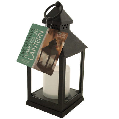 Decorative Lantern Glass Paned With Flameless LED Candle Light