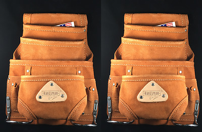 10 pkt Carpenter Leather Electrician Nail & Tool pouch Waist Belt Bag - 2 PK