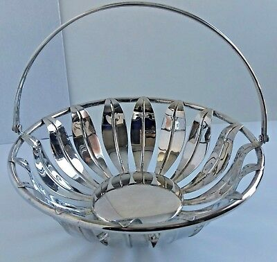 Silver Plated Silverplate Centerpiece Mid Century Leaf Design Bowl Fruit Bowl