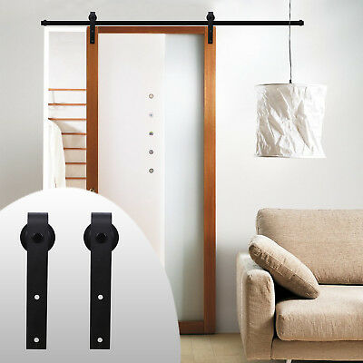 Black 7FT Track for Sliding Wood Barn Door Hardware Kit for Closet Single Door