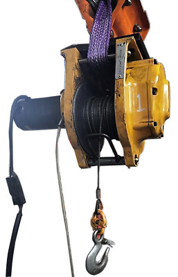 24 Volt Electric Cable Hoist Shop Crane 300kg with Pendant Control and Carriage