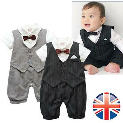 *UK Seller* Baby Boy Bow Tie Waistcoat Christening Wedding Tuxedo Bodysuit
