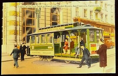 Cable Car Turn Table Market St San Francisco California Vintage Color Postcard