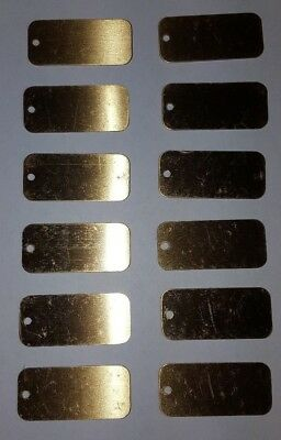 "Lot of 12 Shiny Brass Luggage Tags 1-1/8"" x 2-1/2"" Engraving Plates Award Gift"