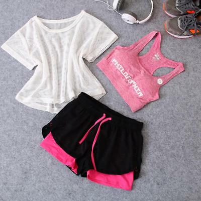Suit Yoga Running Women 3pcs Set Gym Fitness Sport Vest Dry Sports Shorts Tops