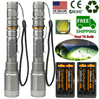 Tactical Police 350000Lumens T6 LED 5 Modes 18650 Flashlight Aluminum Zoom Torch